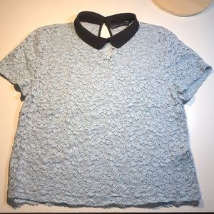 ZARA LACE SHORT SLEEVED TOP